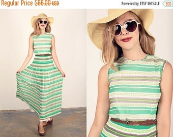 FLASH SALE 70s Striped Pleated Dress Vintage Green Flowy Striped Party Dress
