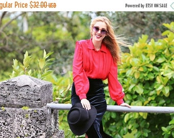 FLASH SALE 80s Fuschia Collar Blouse Vintage Bright Pink Pleated Long Sleeve Blouse