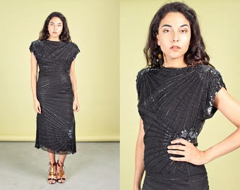 80s Black Mermaid Sequin Dress Vintage Open Back Evening Dress