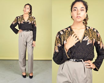Vintage 80s Beaded Blouse Peach Gold Black Sequin Cocktail Top