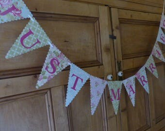 Just Married Bunting - Wedding Banner - Vintage Tea Party - Pink, Green, Blue, Floral