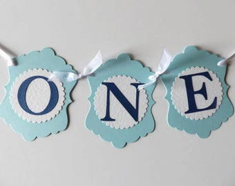 Boys First Birthday ONE Banner - High Chair Sign - Photo Prop - Blue & White