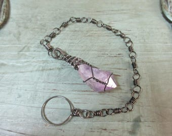 Handcrafted wire wrapped amethyst point pendulum with hematite chain