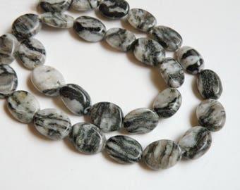 Zebra Jasper gemstone flat ovals beads 13x10mm-14.5x11mm KBF19