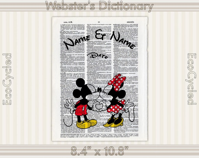 Classic Mickey Mouse & Minnie Mouse Disney Custom Names and Date on Vintage Upcycled Dictionary Art Print Book Anniversary Wedding Romance
