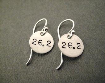 26.2 Earrings Sterling Silver Marathon Earrings - Running Earrings - Marathon Jewelry - Sterling Silver Wire - Running Jewelry - Marathon