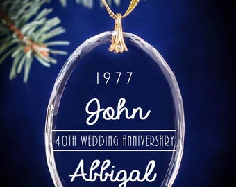 40th Wedding Anniversary Personalized Christmas Ornament Keepsake