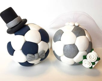 Soccer Wedding Cake Topper - Choose Your Colors