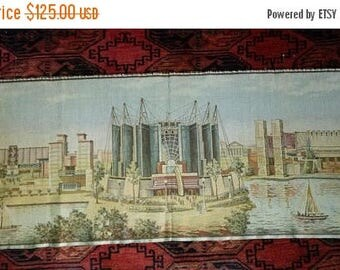 """BIG SUMMER SALE 40s Woven Tapestry-Cityscape-Washington Dc-Government Center-12""""x36"""""""