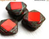 ON SALE Square Czech glass beads, Red beads, picasso finish, table cut, squares - 15mm - 4Pc - 2543