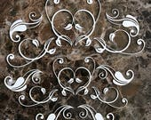 Reneabouquets Beautiful Board Quilling Pattern 12 Piece Laser Cut Chipboard Double Side Vintage White Coated Choose Small or Large