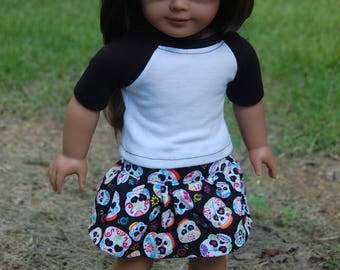 SALE - 2 piece outfit-fits American Girl Doll clothes/18- inch doll clothes/dollskirt/dollbaseball tee/doll outifit/Skulls