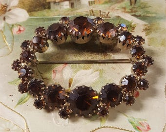 Amber Colored Oval Brooch