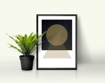 Minimalist Art Print, Modern Scandinavian Art, Geometric Wall Art, Contemporary Galaxy Digital Art Print, Minimalist Abstract Art Print