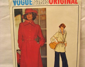 Vogue Paris Original 1205 Givenchy Vintage 1970s Dress, Top, and Pants  Pattern Size 14 Bust 36 Uncut