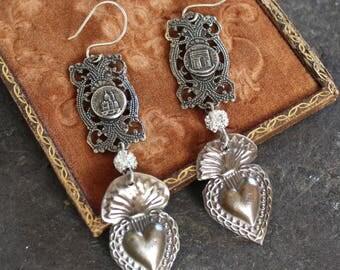 Milagro Ex Voto votive religious  assemblage earrings, vintage, jewelry, devotional heart Jesus rhinestone  france souvenir  bracelet
