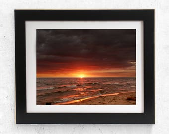 Dramatic Sunset, Lake Michigan, Storm, Beach, Vibrant Sunset