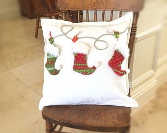 Christmas Pillow Cover,  Stockings Pillow Case,  Christmas Pillowcase, Holiday Throw Pillow, White Christmas Pillow, COVER ONLY