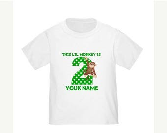 ON SALE Monkey Personalized Birthday Shirt - ANY Age
