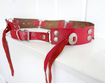 Fantastic Vintage WESTERN Red Leather Silver Concho Southwestern Hip  Belt with Tassels 35 36 37  38 Santa Fe Style Folk Art