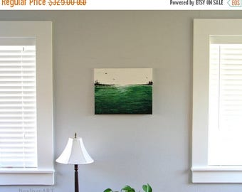CLEARANCE Emerald Green Sea   Large Original Abstract 3D Painting   Mixed Media Art   Home Decor, Office Decor