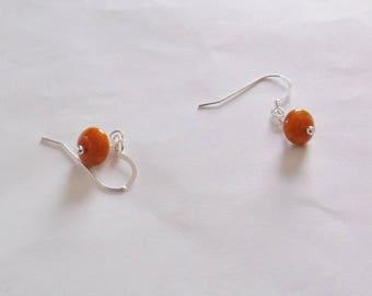 Dainty Orange Earrings Jasper Earrings Orange Dainty Earrings Dangle Earrings Sterling Silver Earrings or 14k Gold Earrings BuyAny3+1 Free