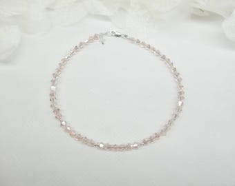 Light Pink Anklet Pink Crystal Ankle Bracelet Silver Cross Anklet Pink Crystal Anklet Pink Anklet 925 Sterling Silver Anklet BuyAny3+1Free