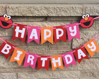 Elmo Inspired Happy Birthday Banner