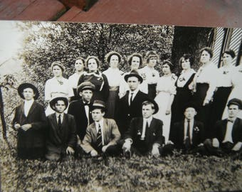 Early 1900's RPPC - Real Photo Postcard - Group Photo - Young Men and Ladies