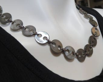 Pearl Necklace, Button Necklace, Shell Necklace