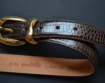 Vintage AnnaBella Another line Western style brown leather belt size M embossed leather Belt Unisex cowboy cowgirl made in USA belt 80s
