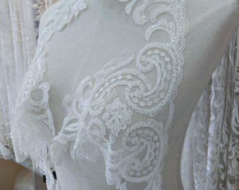 Exquisite heavily beaded alencon lace trim in ivory Victoria vinatge style bridal veil lace trim by yard