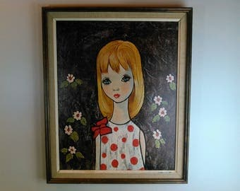 1960s Big Eye Girl Kitsch Art Susie by Goddard