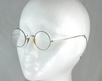Vintage Art Deco 1930's Wire Rim Eyeglasses Frames  - White Gold Filled - John Lennon Style