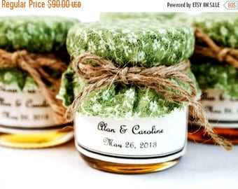 SALE 15% Sale Ends Sunday 36 Mini Honey Jar Favors, Rustic Barn Wedding Favors, Outdoor Country Wedding, Personalized Honey Jar Wedding Favo
