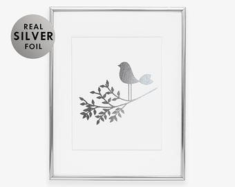 SILVER FOIL Bird on a Branch ART Print Nature Wall Art Nursery Decor Bird Print Silver Foil Little Bird Girl Room Silver Bedroom Decor A30