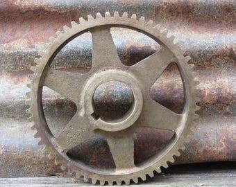 Antique Solid Brass Gear Wheel Metal Cog Large 8 Inch Industrial Decor Lamp Base Wall Art Vintage Brass Gear Rustic Factory Machine Wheel
