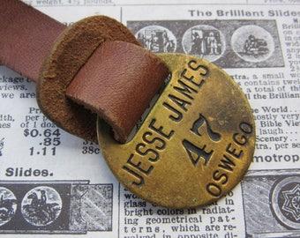 Vintage Brass Metal Tag Number 47 Tag JESSE JAMES Tavern Hotel Room Oswego Oregon #47 Antique Original Leather Fob Keychain Room # Key Chain