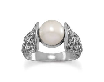 Vintage Inspired Sterling Silver Oxidized Ornate Cut Out Band Statement Ring with Cultured Freshwater Pearl ~ SIZES 6-10