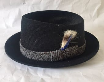 Vintage 1950s 60s Men's Champ Saxony 2 Porkpie Flat Fedora Grey Wool Felt Hat