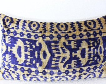 Silk Velvet Ikat Pillow Cover Lp412, Bohemian pillow, Velvet Ikat Pillow, Velvet Pillow, Velvet Pillow Cover, Ikat Pillows, Throw Pillows