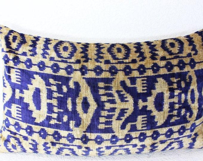 Silk Velvet Ikat Pillow Cover Lp412, Bohemian pillow, Velvet Ikat Pillow, Velvet Pillow, Velvet Pillow Cover, Ikat Pillows, Throw Pillows