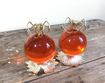 Orange Lucite Ball Candlestick Holder Set