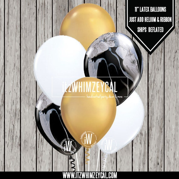 Marble And Gold Chrome Party Balloon Bouquet