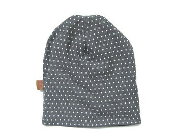 Gray Polka Dot Hat, Toddler Beanie, Baby Beanie, Toddler Hat, Baby Hat, Childrens Clothing, Girls Beanie, Under 20 Dollars, Ready to Ship