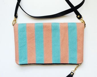 Large Crossbody Purse Colorblock Clutch Foldover Bag Rifle Paper Co Bags Les Fleurs Fabric Coral and Mint Purse