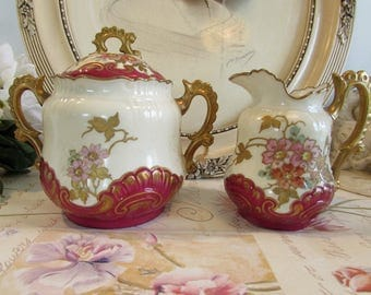 Antique French stunning porcelain sugar bowl and cream /milk jug, creamer.  Fabulous red and gold relief