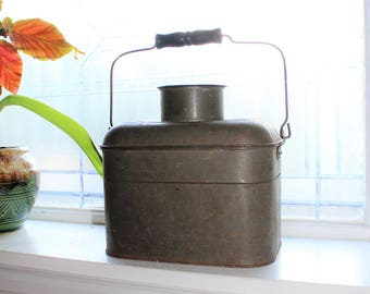 Antique Tin Lunch Pail Miner's Lunch Box Cream City Ware