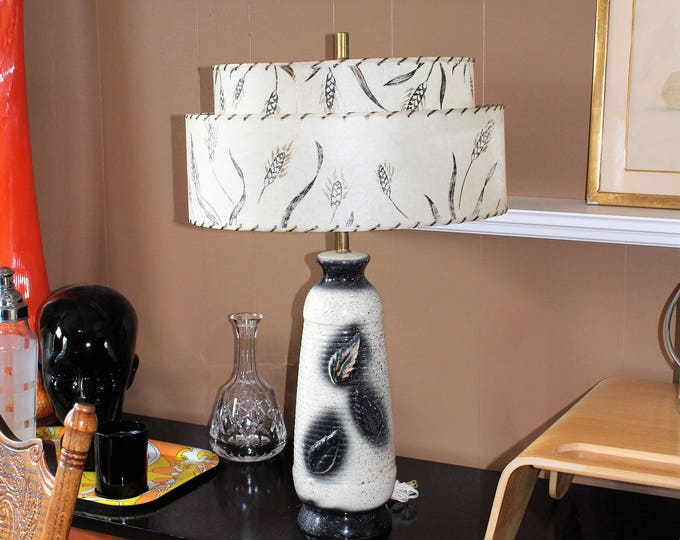 Vintage Mid Century Table Lamp & 2 Tier Shade 1950s Black and White