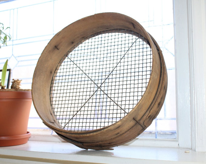 Antique Sieve Wood Rim Large Wooden Screen Rustic Farmhouse
